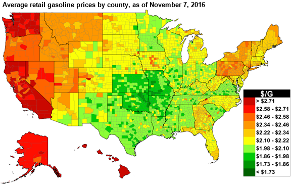 map of us gasoline prices as explained in the article text