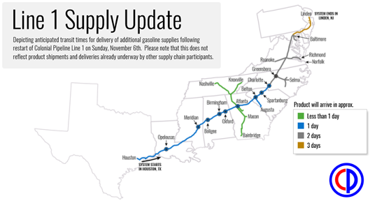 Colonial Pipeline Map Colonial Pipeline restarts Line 1, resumes gasoline shipments to
