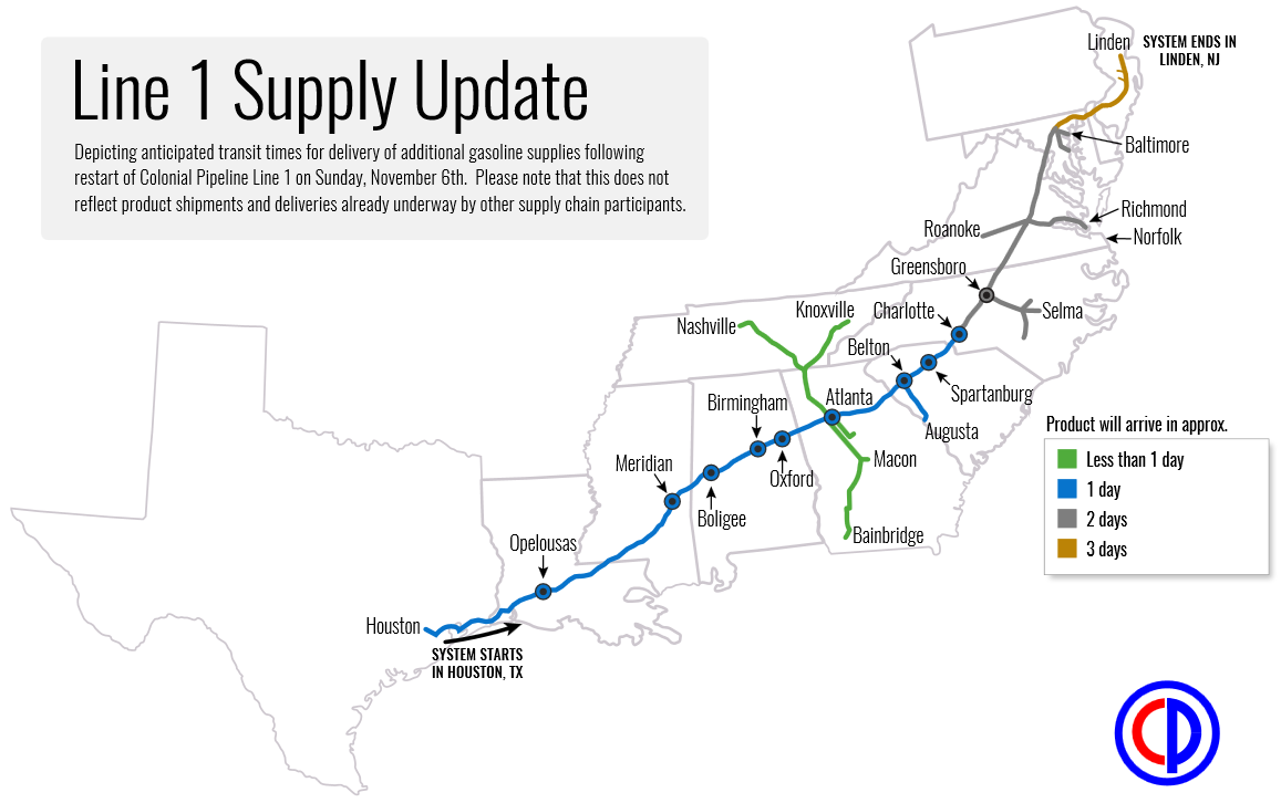 Colonial Pipeline Restarts Line Resumes Gasoline Shipments To - Map of us pipeline system