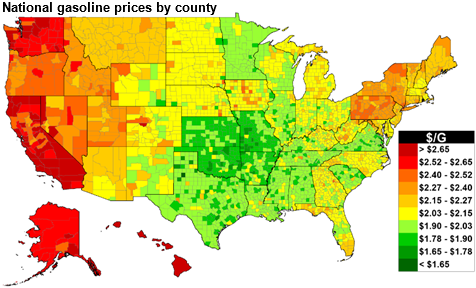 Us Gas Prices Map U.S. average gasoline prices this Thanksgiving are the second