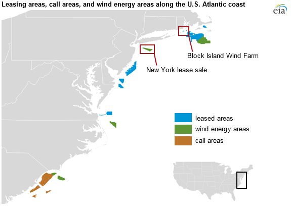map of leasing areas, call areas, and wind energy areas along the U.S. Eastern coast, as explained in the article text