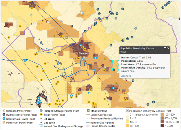 map of fresno with population density and energy infrastructure as explained in the article text