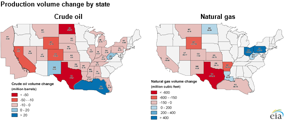 maps of crude oil and natural gas production volume changes by state, as explained in the article text