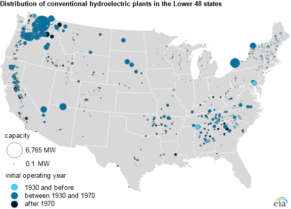 map of distribution of conventional hydroelectric plants in the lower 48 states, as described in the article text