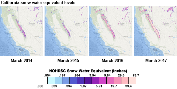 map of california snow water equivalent as explained in the article text