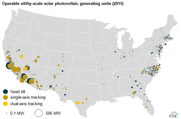 map of operable utility scale solar povoltaic generating units as explained in the article source u s energy