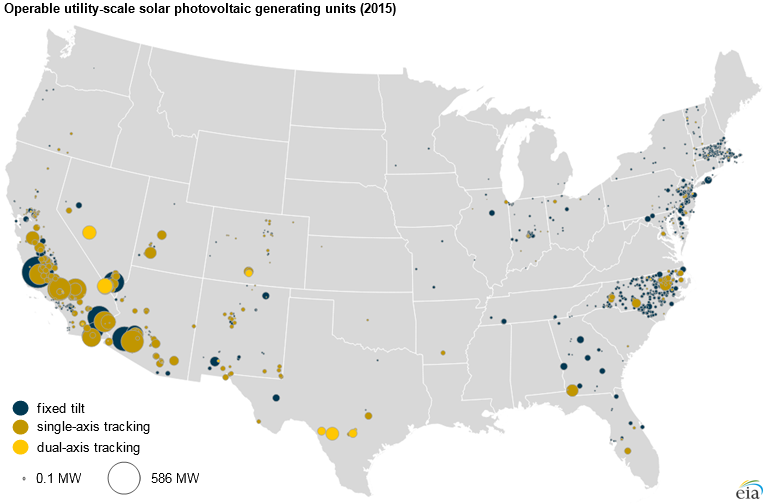 More Than Half Of Utility Scale Solar Photovoltaic Systems Track The - Us-track-map-it
