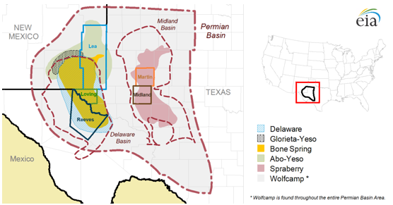 map of Permian Basin, as explained in the article text