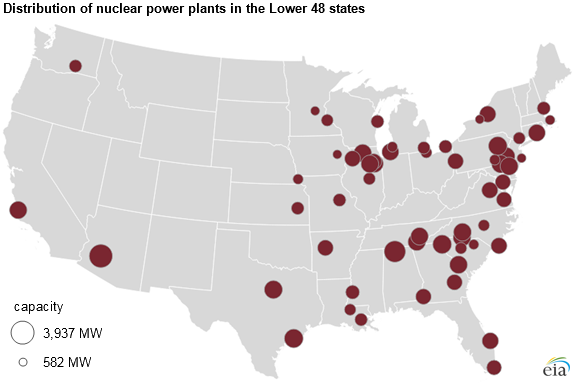 Most US Nuclear Power Plants Were Built Between And - Map nuclear power plants in us