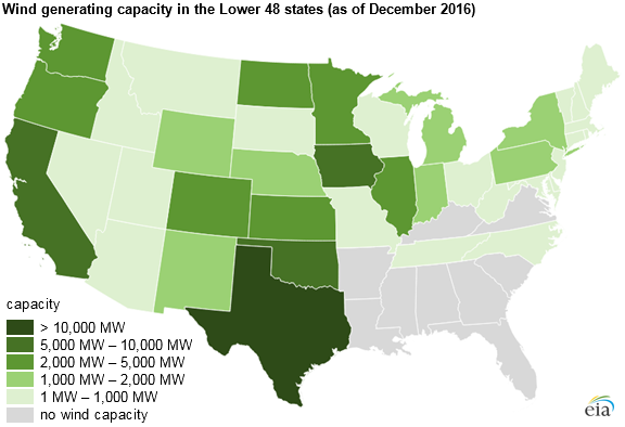 map of wind generating capacity as described in the article text