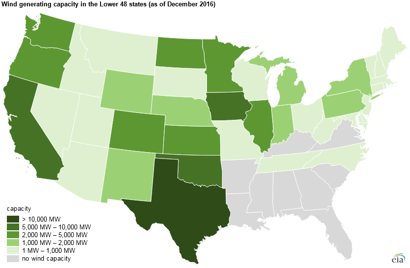 Wind Turbines Provide Of US Generating Capacity More Than - Map of wind farms in the us