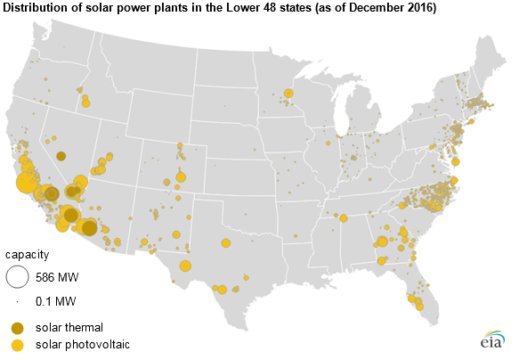 map of Distribution of solar power plants, as described in the article text