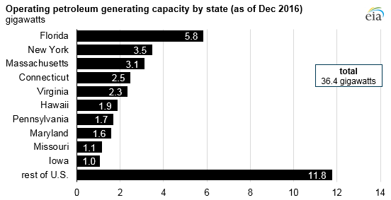 graph of operating petroleum generating capacity, as explained in the article text