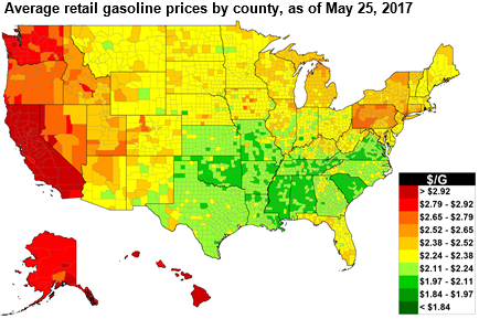 Gasoline Prices Ahead Of Memorial Day Are Higher Than But - Us gas price map