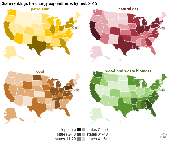 graph of state rankings for energy expenditures by fuel, as explained in the article text