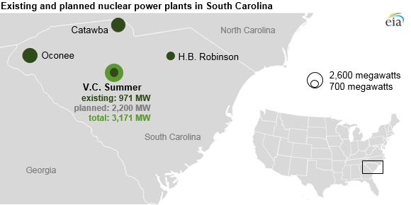 South Carolina Utilities Stop Construction Of New Nuclear Reactors - List of nuclear power plants in us map