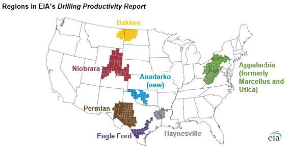 map of regions in EIA's Drilling Productivity Report, as explained in the article text