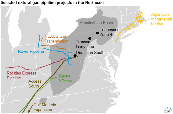 map of selected natural gas pipeline projects in the Northeast, as explained in the article text