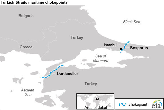 Bosporus Strait Map The Danish and Turkish Straits are critical to Europe's crude oil
