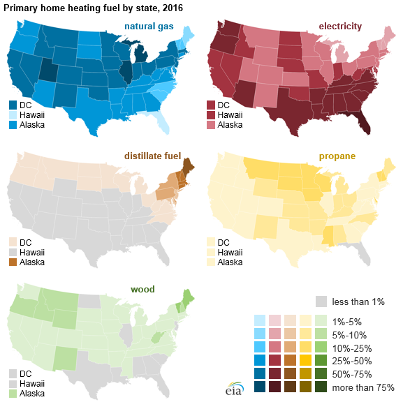 map of primary home heating fuel by state, as explained in the article text