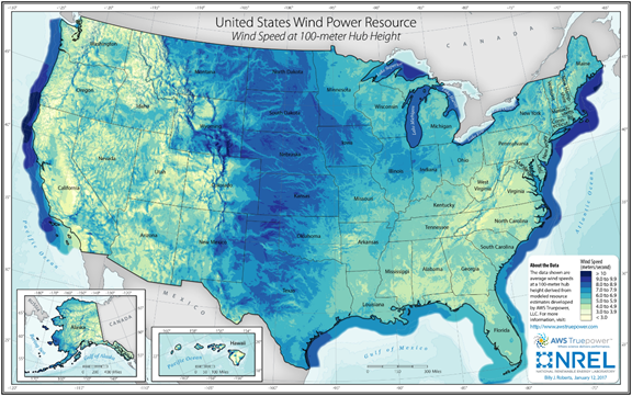 Map of average annual wind speed at 100 meters, as described in the article text