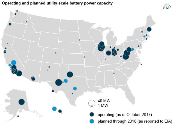 map of operating and planned utility-scale battery power capacity, as explained in the article text