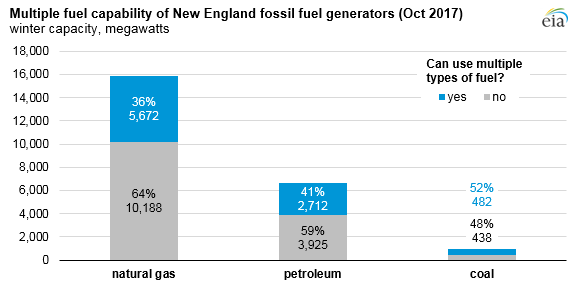 graph of multiple fuel capability of New England fossil fuel generators, as explained in the article text
