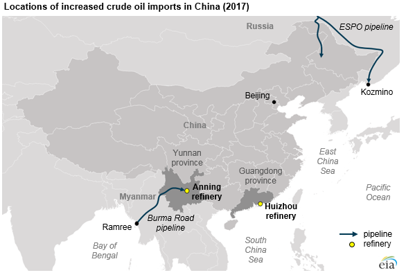locations of increased crude oil imports in China, as explained in the article text