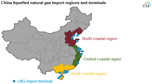 map of China's natural gas import regions and terminals, as described in the article text