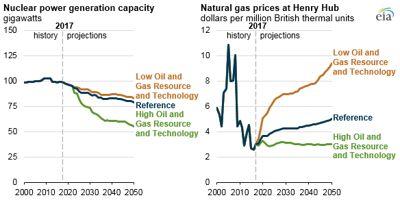 nuclear power generation capacity and natural gas prices at Henry Hub, as explained in the article text