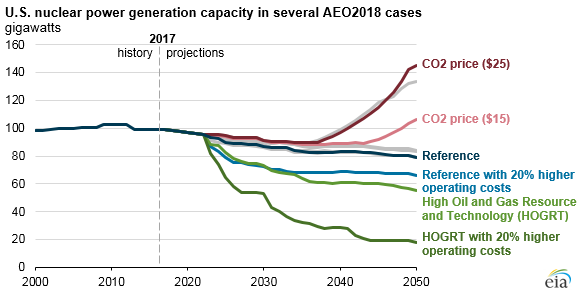 U.S. nuclear power generation capacity in several AEO cases, as explained in the article text