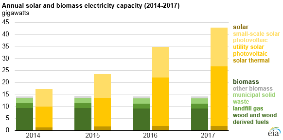 annual solar and biomass electricity capacity, as explained in the article text