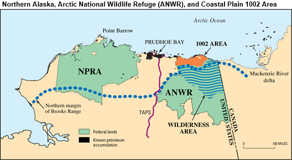 Map of northern Alaska and ANWR, as explained in the article text