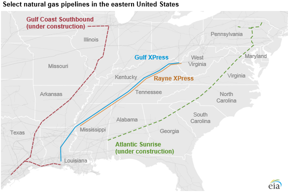 select natural gas pipelines in the eastern United States