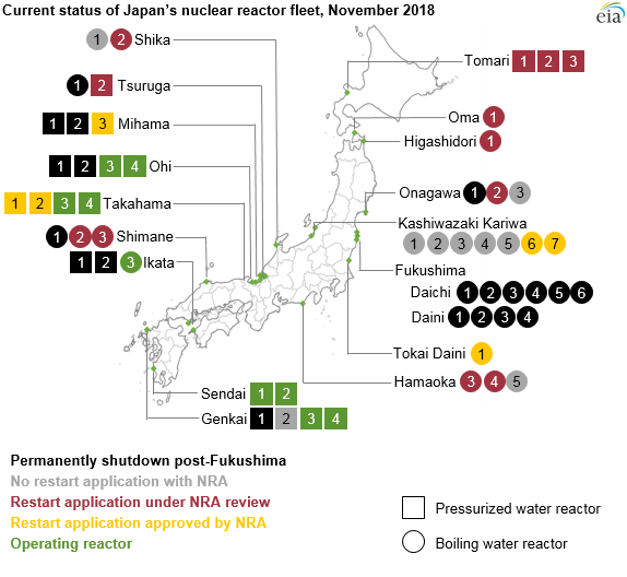 current status of Japan's nuclear reactor fleet