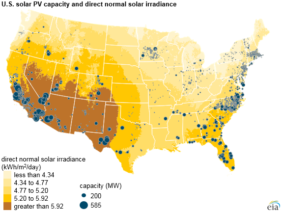 U.S. solar PV capacity and direct normal solar irradiance