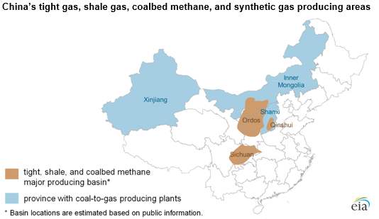 China's tight gas, shale gas, coalbed methane, and synthetic gas producing areas