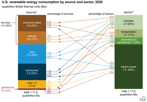 U.S. renewable energy consumption by source and sector