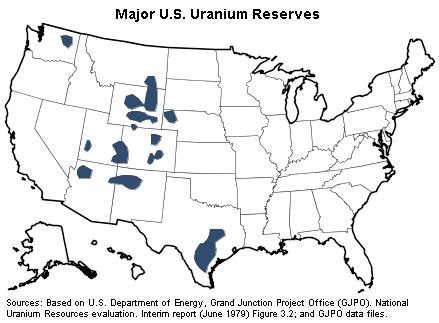 Map Of Uranium Deposits In The Us U.S. Uranium Reserves Estimates